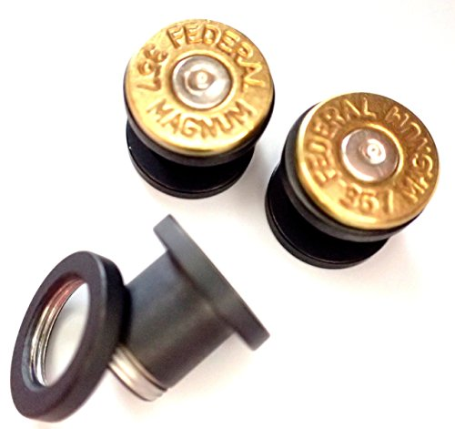 Bullet Ear gauges tunnel 357 MAGNUM Brass shell on LIMITED EDITION Flat Black stainless Steel Tunnel, ear plugs 2ga, 0ga , 00ga you (Brass 357 Magnum)