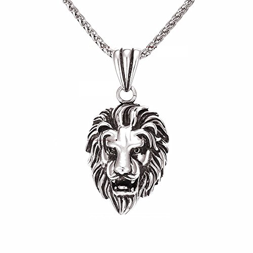 Lion Boss Necklace Women/Men Jewelry Wholesale Trendy Platinum/18k Real Gold Plated Pendant (Silver) CA0012