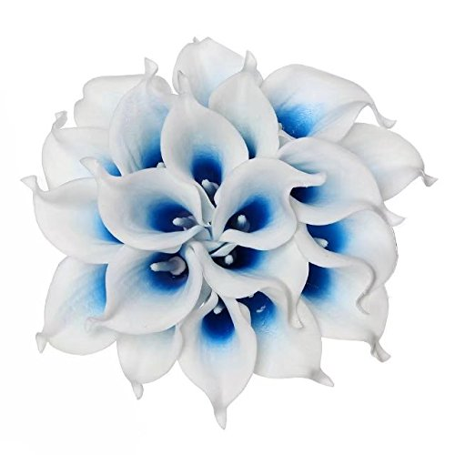 Celine lin Calla Lily Bridal Wedding Party Decor Bouquet PU Real Touch Flower Artificial Flowers(10 PCS, White blue) (Wedding Center)