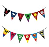 Astra Gourmet Superhero Avengers and Justice League Party Banners with 12 Flags, Strings Included