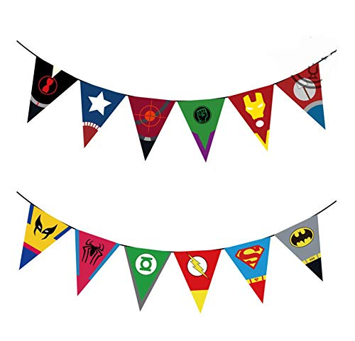 Astra Gourmet Superhero Avengers and Justice League Party Banners with 12 Flags, Strings Included -