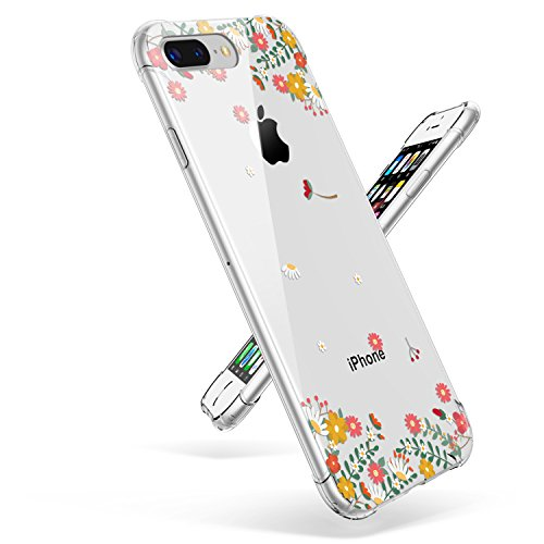 iPhone 7 Plus Case for Girls, Clear iPhone 8 Plus Case, GVIEWIN Floral Pattern Slim Fit Case for Women, Shock Proof Bumper Soft Rubber TPU Transparent Cover for Apple iPhone 7/8 Plus, Spring Flowers