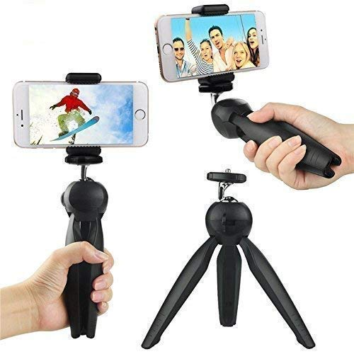 AWAKSHI Adjustable 228 Mini Mobile Tripod Stand with Mobile Holder for Mobile Phone and Camera Black
