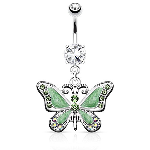 Butterfly with Gems 14G Navel Dangle Belly Button Ring 316L Surgical Steel (Green)