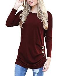 Women's Casual Long Sleeve Tunic Tops Fall Tshirt Blouses