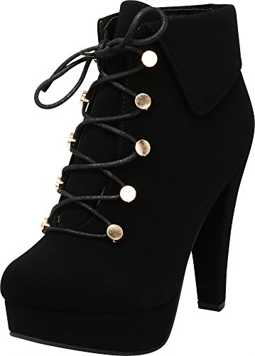 Cambridge Select Women's Closed Round Toe Fold Over Cuff Lace-up Chunky Platform High Heel Ankle Bootie,9 M US,Black Nbpu