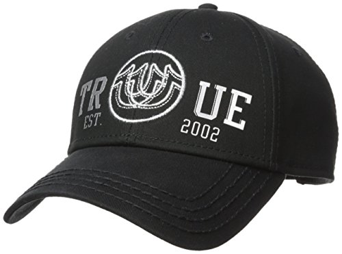(True Religion Men's Overlapped Logo Ball Cap, Black/Silver, OSFA)