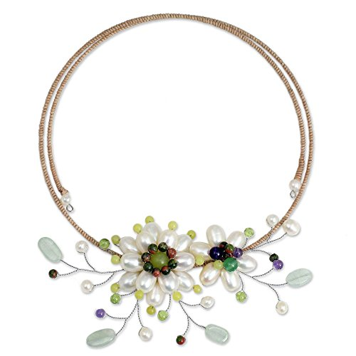 NOVICA Multi-Gem Aventurine Cultured Freshwater Pearl Stainless Steel Beaded Necklace 'White Sonata'