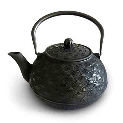 (Huswell Cast Iron Teapot, Stainless Steel Infuser, Sunrise, 60 oz./1.8 Litre)