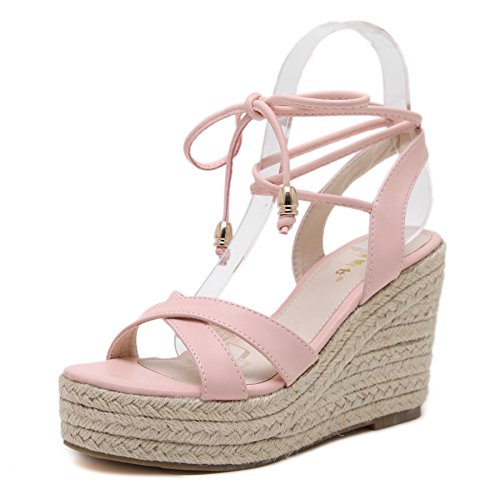 MAKEGSI Womens Jute-Rope Middle Wedge Heel Summer Shoes Flip Sandals Lace Up (9, Pink) - Heel Lace Up Shoes