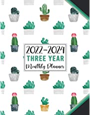 2022-2024 Three Year Monthly Planner - Pretty Cactus Pattern: 36 Months At a Glance Organizer & Agenda with Notes/ Goals and Checklists (Large 3 Years Calendar Planner 2022-2024)