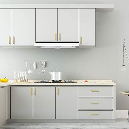 "goldenwarm Square Brushed Brass Cabinet Pulls Drawer Handles - LSJ12GD102 Gold Color Classical Square Kitchen Cabinet Hardware 4"" Hole Centers Cupboard Door Handles 5 Pack"