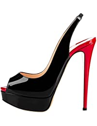 Women's Slingbacks Peep Toe High Heels Shoes Platform Pumps Gradient Wedding Party
