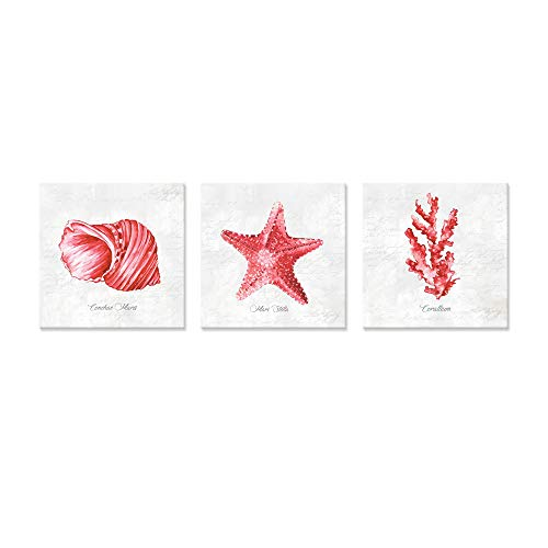 JAPO ART Red Sea Coral Eva Watts by PI Creative Art Modern Ocean Marine Animal Wall Pictures Vintage Giclee Print on Canvas Stretched for Living Room Bedroom 12 x 12 inch x 3 pcs