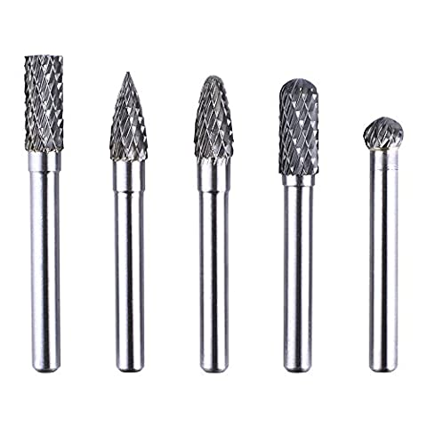 kuman 5Pcs 6X8MM Head Tungsten Rotary Point Carbide Burrs for Rotary Drill Die Grinder Carving Bit KLC01 (68mm (Cordless Right Angle Die Grinder)