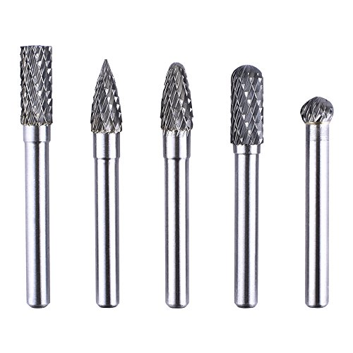 Longruner 5 Pcs 6X8MM Head Tungsten Rotary Point Carbide Burrs For Rotary Drill Die Grinder Carving Bit LC01 (68mm 5PCS)