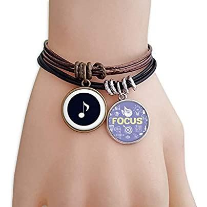 SeeParts White Music Quaver Notes Black Bracelet Rope Wristband Force Handcrafted Jewelry Estimated Price £9.99 -