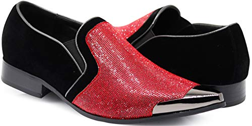 (Crisiano Men Stage Fashion Sparkle Rhinestone Suede Metal Chrome Toe Designer Dress Loafers Slip On Shoes Classic Tuxedo Dress Shoe (9 D(M) US, Red))