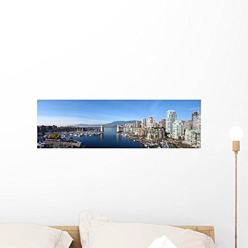 Vancouver Panoramic Wall Mural by Wallmonkeys Peel and Stick Graphic (24 in W x 7 in H) - Bay Locations Vancouver The