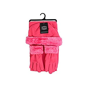 Girl's 6-12 Faux Fur Trimmed Matching Gloves and Scarf Winter Set