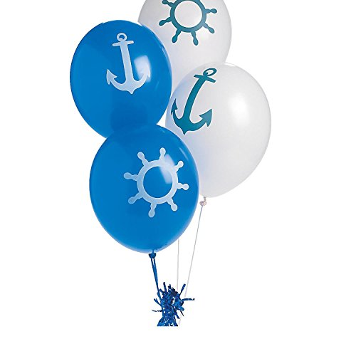 11' Latex Wedding Balloons - Nautical Print Latex Balloons (With Sticky Notes)