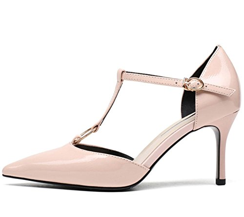 MEILI Tip Stiletto Heels Metal Hebilla Correa Hueco Sandalias Bare pink
