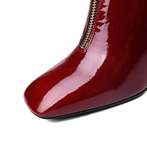 Cerniera Grazioso Con Della Sette Vernice Stivaletti Alto Nove Punta A Tacco Quadrata Piedi Vestito Rosso Grosso A Donne Caviglia Alla In Mano OqxZwz8