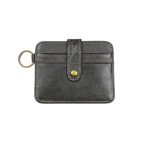 Badge Chain Wallet (CAILLU RFID Blocking Leather Front Pocket Slim Card Wallet Useful Credit Card Key Ring Wallets Small Purse RFID Blocking The Caillu)