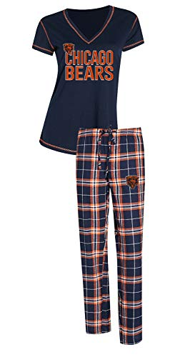 Concepts Sport Chicago Bears NFL Super Duo Women's T-Shirt & Flannel Pajama Sleep Set