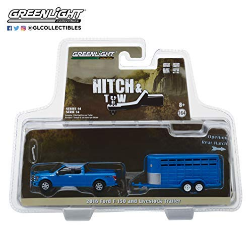 2016 Ford F-150 4X4 Pickup Truck with Livestock Trailer Blue Hitch & Tow Series 14 1/64 Diecast Models by Greenlight 32140 C