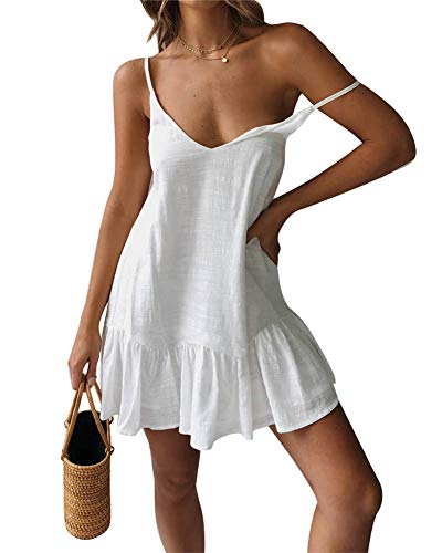 (ECHOINE Womens Casual Solid Swing Short Shift Midi Dress Spagehetti Strap Sundress White)
