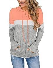 imrusan Women's Long Sleeve Crew Neck Quilted Patchwork Pullover Sweatshirt Tops, S-2XL