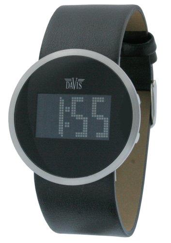 Davis - Reloj digital de cuarzo para hombre con correa de piel, color negro: Amazon.es: Relojes