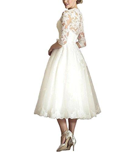 ABaowedding-Womens-V-Neck-Long-Sleeves-Tea-Length-Short-Wedding-Dress