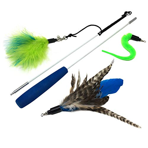 Pet Fit For Life Feather Teaser and Exerciser for Cat and Kitten – Cat Toy Interactive Cat Wand 2 Section 3 Piece