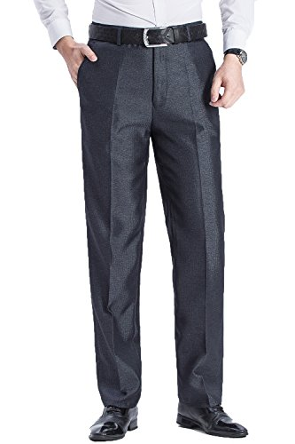 FLY HAWK Men's Stain Resistant Flat Front Ultimate Traveler Flat Front Work Pant Gray US Size (Ultimate Traveler)