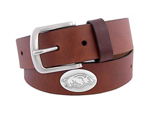 NCAA Arkansas Razorbacks Zep-Pro  Leather Concho Belt, Brown, 34-inches