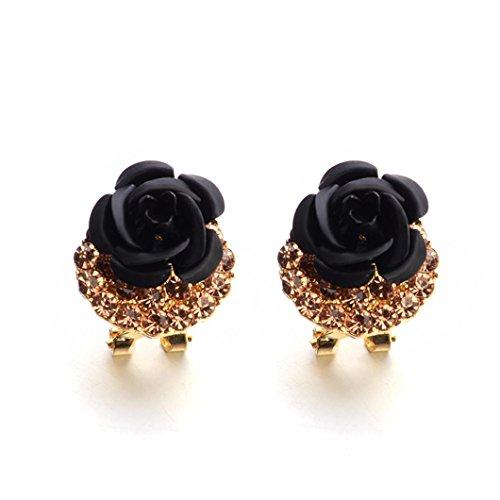 Clearance!Twinsmall Jewelry Ball Bohemia Flower Rhinestone Earrings For Women Summer Style (Black 2018) ()