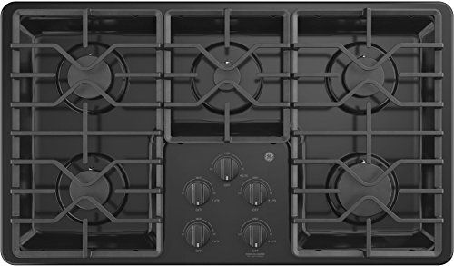 GE JGP3036DLBB 36 Inch Natural Gas Sealed Burner Style Cooktop with 5 Burners, ADA Compliant, in Black