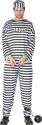 Convict Costume Uk (Smiffy's Men's Convict Costume with Shirt Trousers and Hat, Black/White, Large)