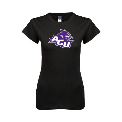 Abilene Christian Ladies Softstyle Junior Fitted Black Tee 'Angled ACU w/Wildcat Head'