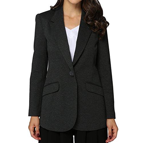 Tasta Women's Single Button Blazer Jacket Business Suit Long Sleeve Coat with Padded Shoulders (US 18, Long Style (Long Suit Jackets Women)
