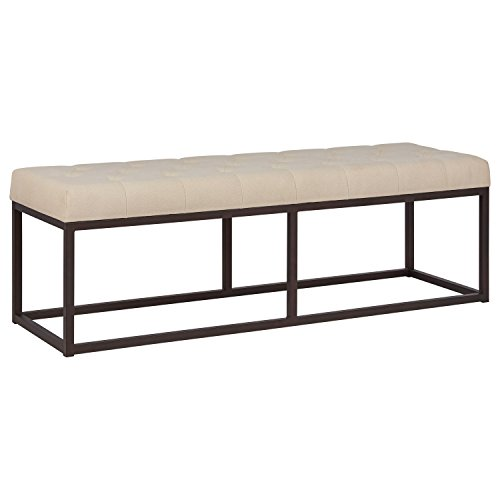 Stone & Beam Contemporary Metal Bedroom Bench with Cushion, 58