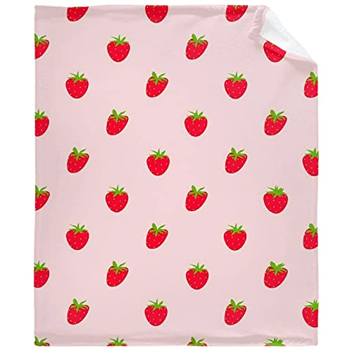 AozyHug Pink Strawberry Pattern Fleece Flannel Blanket Soft Fuzzy Plush Fluffy Blanket Warm Cozy Perfect Throw for All Seasons for Couch Bed Sofa Chair 30