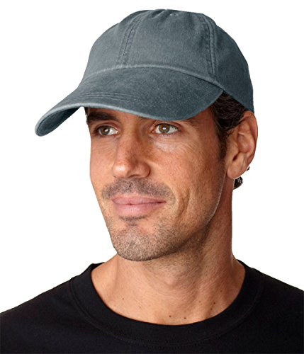 Adams Sunbuster Pigment Dyed Twill Cap With Extra Long Visor (Charcoal) (ALL) (Solid Dyed Pigment Twill Cap)