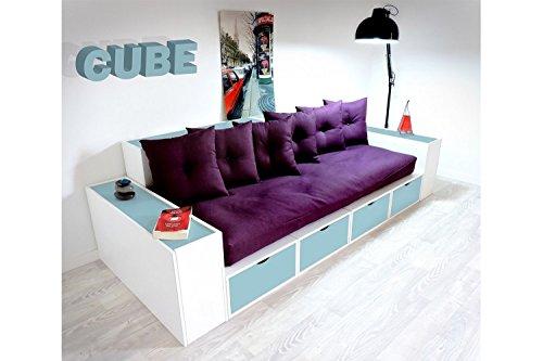 ABC MEUBLES - Boxensofa, mit Schubladen - CANAPCUBLB - Bleu Pastel