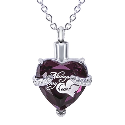 Hope Rhinestone Necklace - SmartChoice Keepsake Rhinestone Necklace Heart Pendant for Cremation Ashes with Beautiful Presentation Gift Box, Elegant Memorial Jewelry with Stainless Chain and Accessories, Purple