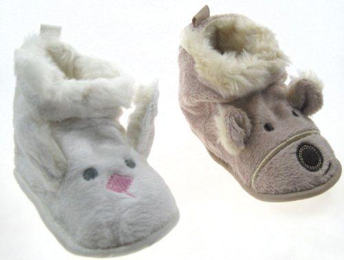 Cute boy/niña perro y conejo piel y lana botas de tacto suave–color beige y blanco (6–9meses) beige Talla:6-9 meses beige