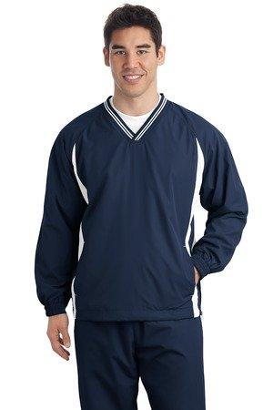 (Sport-Tek - Tipped V-Neck Raglan Wind Shirt. JST62 - X-Large - True Navy / White)