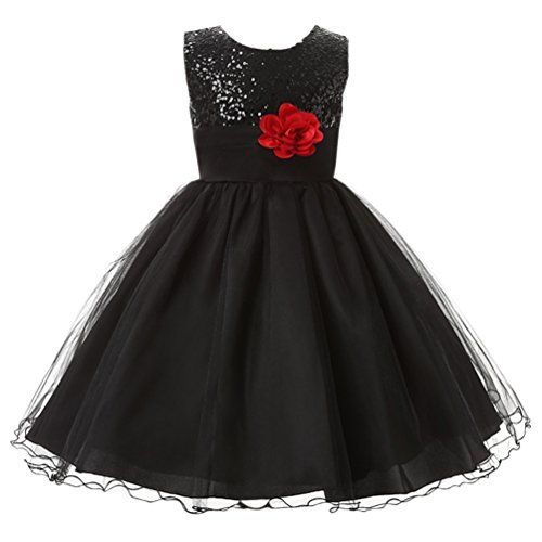 Csbks Little Girl Flower Sequin Princess Tulle Party Dress Birthday Ball Gowns 8 ()